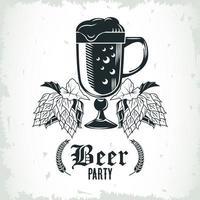 ícone isolado de caneca de cerveja e lúpulo vetor