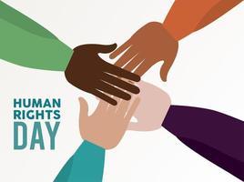 pôster do dia dos direitos humanos com mãos interraciais vetor