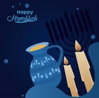 feliz festa de hanukkah com velas e bule vetor