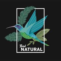 pôster com moldura floral com citação think natural e pássaro vetor