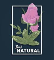 pôster com moldura retangular floral com citação think natural vetor