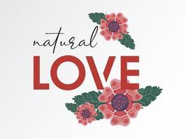 pôster floral com citação de amor natural vetor