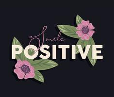 pôster com moldura floral e sorriso positivo vetor