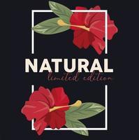 pôster de moldura retangular floral com palavra natural vetor