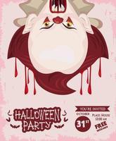 pôster de celebração da festa de terror de halloween com palhaço malvado e sangue vetor