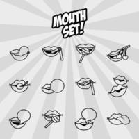 pacote de doze ícones de estilo de linha de bocas pop art