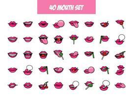 pacote de quarenta ícones de estilo de preenchimento de bocas pop art