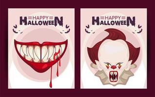 feliz pôster de celebração do terror de halloween com palhaço e boca vetor