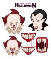 cartaz de celebração do terror feliz do dia das bruxas com ícones de palhaços e vampiros vetor