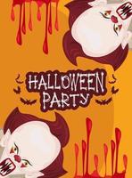 pôster de celebração da festa de terror de halloween com palhaços e sangue vetor