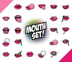 pacote de vinte e duas bocas pop art preencher ícones de estilo