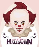 poster feliz celebração do terror do halloween com palhaço malvado vetor