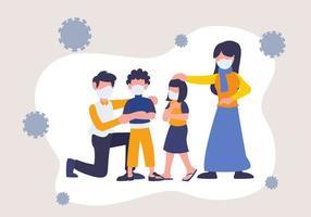 coronavirus 2019-ncov com família usando máscara. mantenha-se protegido de doenças e crises epidêmicas. vetor