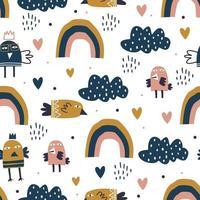 padrão sem emenda de arco-íris e pássaro. ilustração vetorial para impressão de bebê e crianças. fundo de elementos de envolvimento de têxteis. vetor