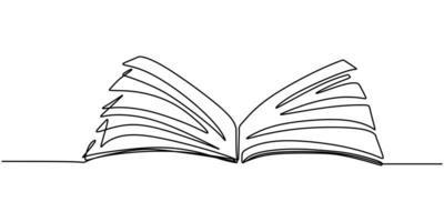 um desenho de linha, livro aberto. ilustração do objeto vetorial, design de esboço desenhado de mão minimalismo. conceito de estudo e conhecimento.