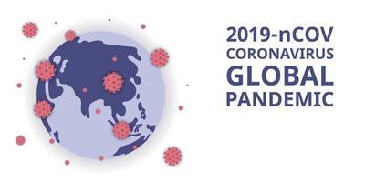 2019-ncov coronavirus pandemia global. figura de ataque de vírus e se espalhando pelo mundo. banner e cartaz de desastre, surto de vírus corona. vetor
