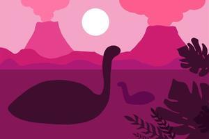 dinossauros flutuando em um fundo de vulcões vetor