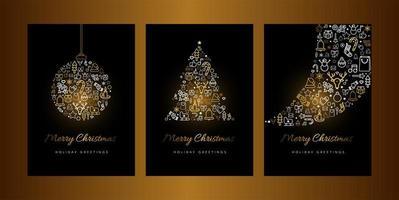 conjunto de modelos de vetor de cartão de feliz natal