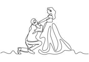desenho de linha contínua. casal romântico, um homem beija a mão de uma mulher, propondo-se em casamento. minimalismo desenhado de uma mão.