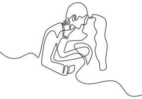 desenho de uma linha contínua. Casal apaixonado, mulher e homem em relacionamento de amor. ilustração vetorial, estilo minimalismo.