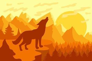 uivando para a lua lobo selvagem vetor