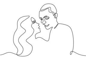 desenho de linha contínua. casal romantico. design de conceito de tema de amantes. minimalismo desenhado de uma mão. metáfora de ilustração vetorial de amor, isolada no fundo branco.
