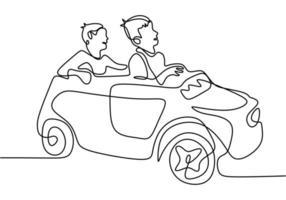 dois menino brincando com seu carro de brinquedo. feliz dirigindo o carro dela. brincando de menino dirigindo o carro. uma linha contínua. ilustração vetorial vetor