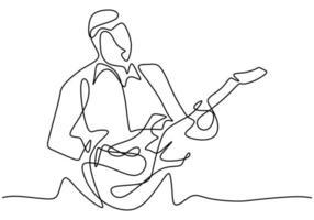 pessoa canta uma música com violão. jovem guitarrista masculino feliz. músico artista performance conceito single line draw design illustration vetor