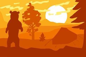 urso selvagem no acampamento da floresta vetor