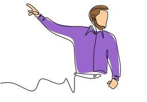 contínua única desenhada uma linha de apresentação de pessoa em pé para ensinar, treinar e apresentar. vetor