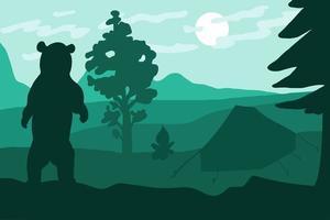 urso selvagem em pé acampando perto de floresta e montanhas