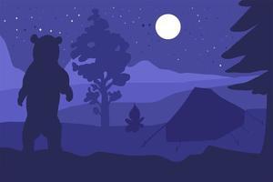 urso andando no acampamento da montanha da floresta à noite vetor