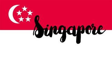 bandeira de Singapura com texto