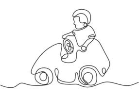 um menino brincando com seu carrinho de brinquedo. feliz dirigindo o carro dela. brincando de menino dirigindo o carro. uma linha contínua. ilustração vetorial vetor