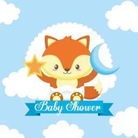 cartão de chá de bebê com raposa fofa vetor