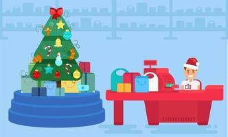 feliz natal e ano novo na loja vetor