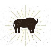 logotipo da silhueta de bisão em pé retrô vetor