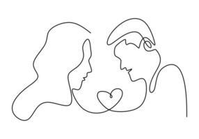 desenho de linha contínua. casal romantico. design de conceito de tema de amantes. minimalismo desenhado de uma mão. metáfora de ilustração vetorial de amor, isolada no fundo branco. vetor