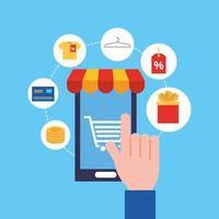 smartphone com ícones de tecnologia de compras online