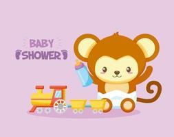cartão de chá de bebê com macaco fofo vetor