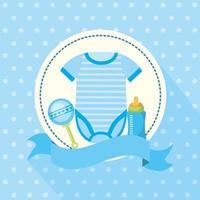 cartão de chá de bebê com roupas de bebê fofas vetor