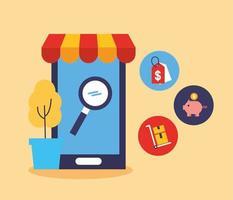 smartphone com ícones de tecnologia de compras online vetor