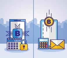 projeto de conceito de dinheiro, finanças e tecnologia com ícones de smartphone vetor