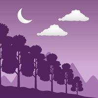 paisagem de floresta com desejo de viajar e cena de lua crescente