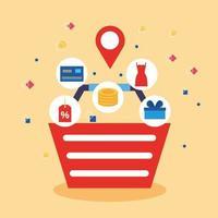 cesta de compras com ícones de tecnologia de compras online