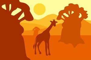 paisagem do deserto com águia, cactos e sol. vetor