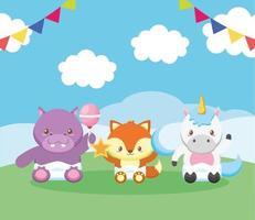 cartão de chá de bebê com animais fofos vetor