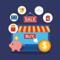 tablet com ícones de tecnologia de compras online