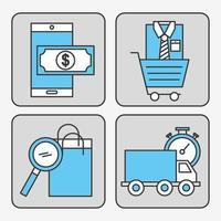 pacote de ícones de tecnologia de compras online vetor