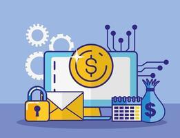 projeto de conceito de dinheiro, finanças e tecnologia vetor